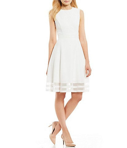 Calvin Klein Round Neck Sleeveless Illusion Hem Crepe A-Line Dress