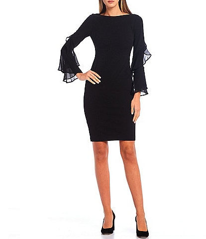 Calvin Klein Ruffle Chiffon Long Sleeve Sheath Dress