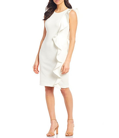 Calvin Klein Ruffle Detail Scuba Sheath Dress
