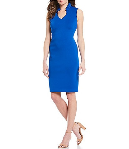 Calvin Klein Ruffle V-Neck Scuba Sheath Dress