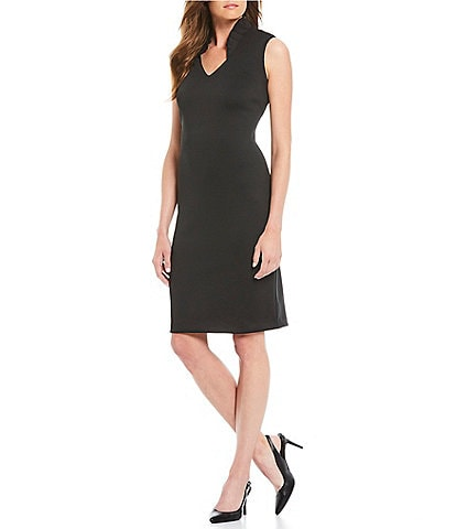 Calvin Klein Ruffle V-Neckline Sleeveless Sheath Dress