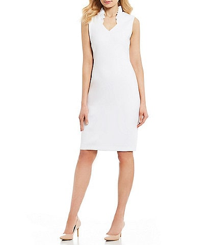 Calvin Klein Ruffle Stand Collar V-Neck Sleeveless Sheath Dress
