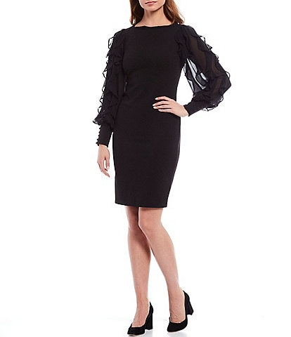 Calvin Klein Ruffled Chiffon Long Sleeve Sheath Dress