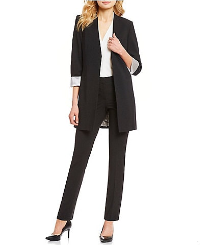 Calvin Klein Satin Stripe Roll Cuff Long Open Front Jacket & Luxe Stretch Slim Leg Pants