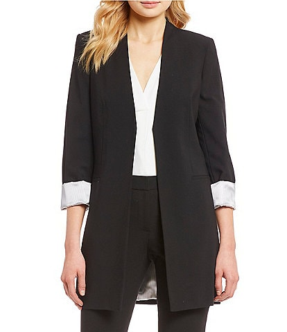 Calvin Klein Satin Stripe Roll Cuff Long Open Front Jacket