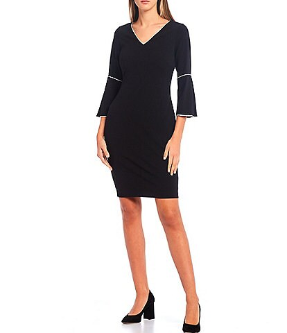 Calvin Klein Scuba Crepe Contrast Pipe Trim V-Neck Bell Sleeve Sheath Dress