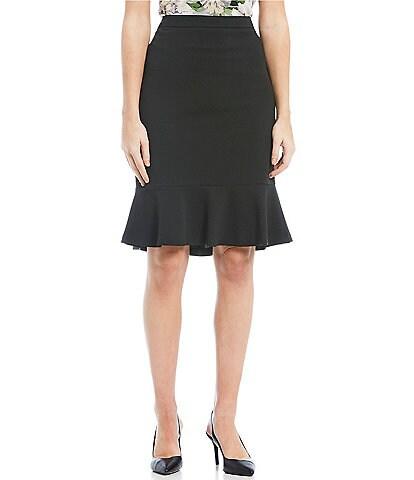 Calvin Klein Scuba Crepe Flounce Hem Pencil Skirt