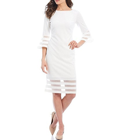 Calvin Klein Scuba Crepe Illusion Band 3/4 Bell Sleeve Sheath Dress