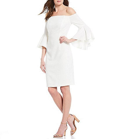 Calvin Klein Scuba Crepe Off-The-Shoulder Ruffle Bell Sleeve Sheath Dress