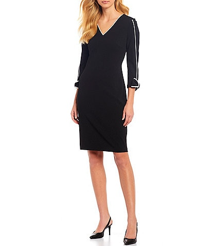 Calvin Klein Scuba Crepe Piping Trim Bow Cuff Detail Sheath Dress