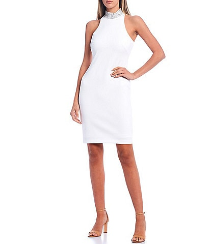 Calvin Klein Scuba Crepe Sleeveless Embellished Mock Neck Sheath Dress