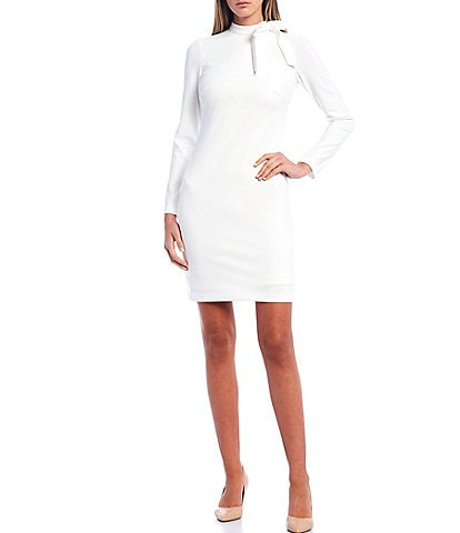 Calvin Klein Scuba Crepe Tie Neck Long Sleeve Shift Dress