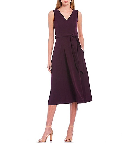 Calvin Klein Scuba Crepe V-Neck Sleeveless Tie Waist Midi Dress