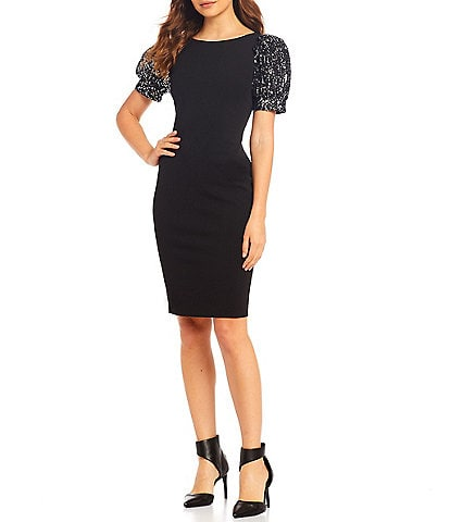 Calvin Klein Scuba Sequin Puff Sleeve Sheath Dress