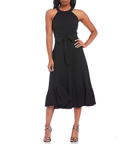 Calvin Klein Seersucker Halter Neck Belted Ruffle Hem Midi Dress