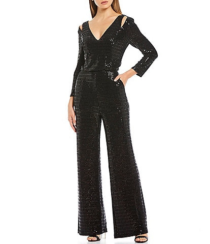 Calvin Klein Allover Sequin Cut Out V-Neck Wide Leg Jumpsuit