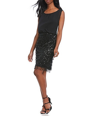 Calvin Klein Sequin Fringe Blouson Dress