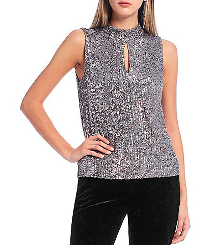 Calvin Klein Sequined Knit Mock Neck Keyhole Front Sleeveless Top