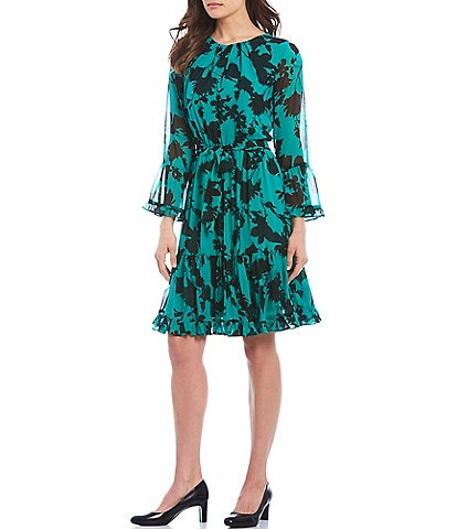 Calvin Klein Shadow Floral Print Chiffon Ruffle Trim Long Sleeve Belted Dress