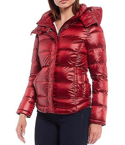 Calvin Klein Short Down Water Resistant Puffer Coat with Detachable Hood