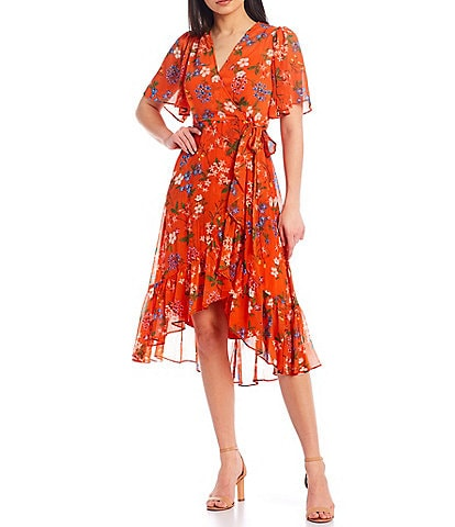 Calvin Klein Short Flutter Sleeve Hi-Low Ruffle Hem Wrap Dress