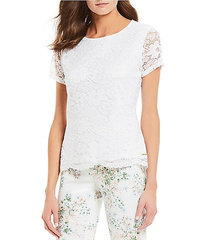 Calvin Klein Short Illusion Lace Sleeve Scalloped Hem Knit Top