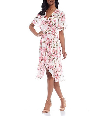 Calvin Klein Short Sleeve Floral Chiffon Wrap Dress