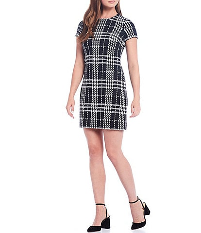 Calvin Klein Short Sleeve Plaid Pointe Shift Dress