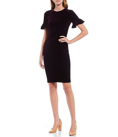 Calvin Klein Short Sleeve Ruffle Cuff Velvet Sheath Dress