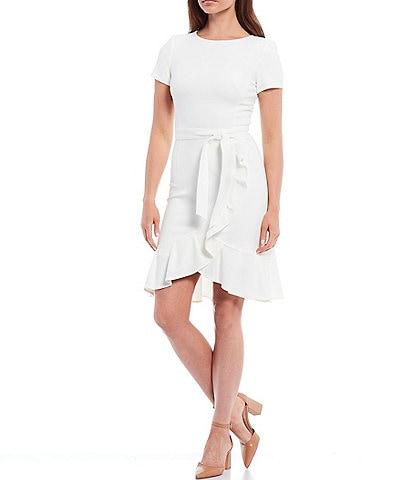 Calvin Klein Short Sleeve Ruffle Tulip Hem Belted Dress