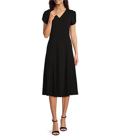 Calvin Klein Short Tulip Sleeve V-Neck A-Line Midi Dress
