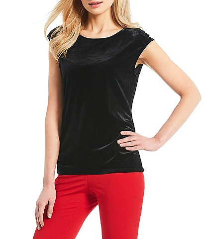 Calvin Klein Side Ruched Cap Sleeve Velvet Top