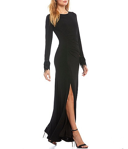 Calvin Klein Side Slit Faux Feather Cuff Gown