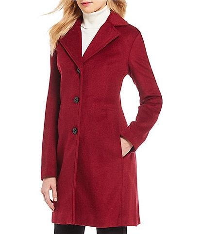 Calvin Klein Single Breast Cashmere Blend Walker Coat