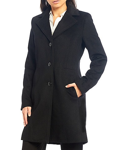 Calvin Klein Single Breasted Cashmere Wool Blend Reefer Coat