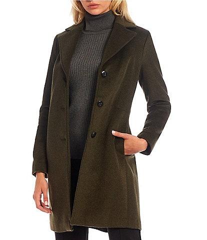 Calvin Klein Single Breasted Cashmere Wool Blend Reefer Coat