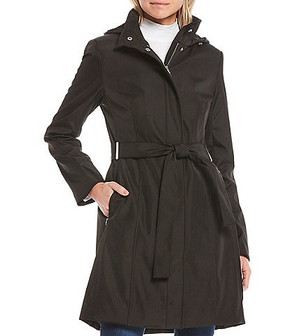 Calvin Klein Single Breasted Stand Collar Belted Trench Coat