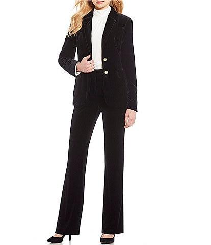 Calvin Klein Single Breasted Velvet Blazer Jacket & Stretch Velvet Straight-Leg Pants