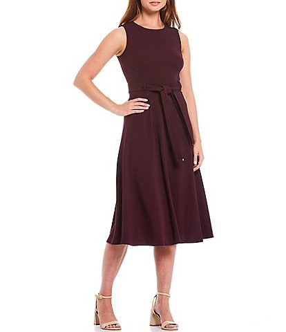Calvin Klein Sleeveless Belted Scuba Crepe A-Line Midi Dress