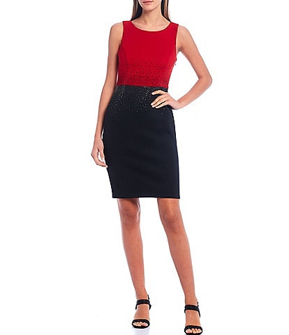 Calvin Klein Sleeveless Bling Waist Colorblock Sheath Dress