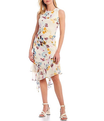 Calvin Klein Sleeveless Floral Asymmetrical Flounce Hem Chiffon Dress