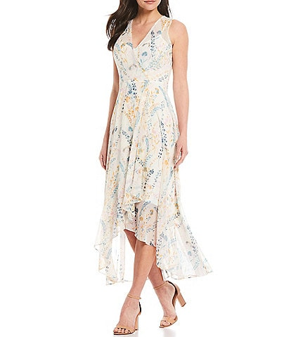 Calvin Klein Sleeveless Floral Hi-Low Ruffle Front Maxi Dress