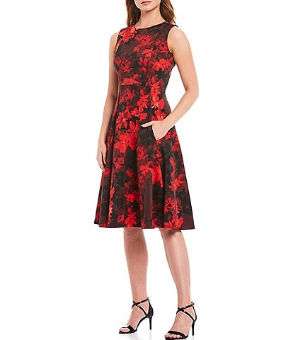 Calvin Klein Sleeveless Floral Print A-Line Dress
