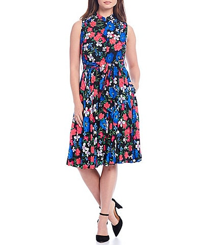 Calvin Klein Sleeveless Floral Printed Tie Waist A-Line Dress