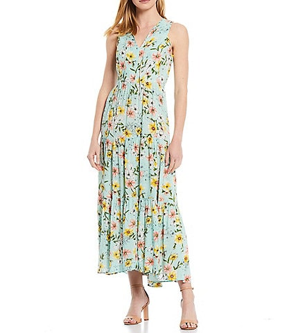 Calvin Klein Sleeveless Floral Tie Front Three Tier Dress