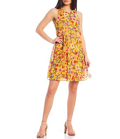 Calvin Klein Sleeveless Floral Trapeze Dress