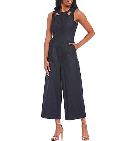 Calvin Klein Sleeveless Front Cutout Detail Denim Crop Jumpsuit