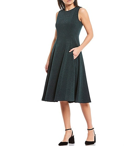 Calvin Klein Sleeveless Glitter Knit Fit & Flare Dress