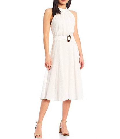 Calvin Klein Sleeveless Halter Dress Belted Dress