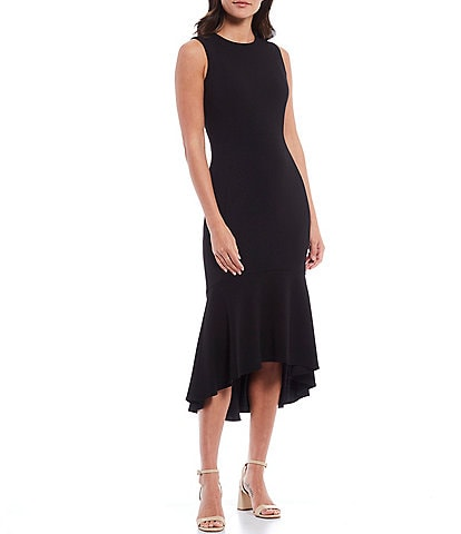 Calvin Klein Sleeveless Hi-Low Flounce Hem Midi Sheath Dress